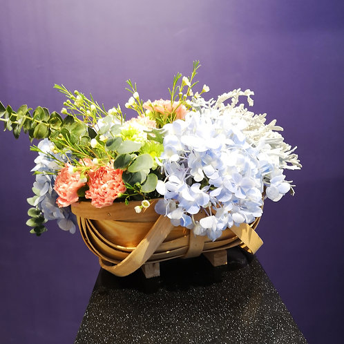 Hand Crafted Japanese Basket of Florals