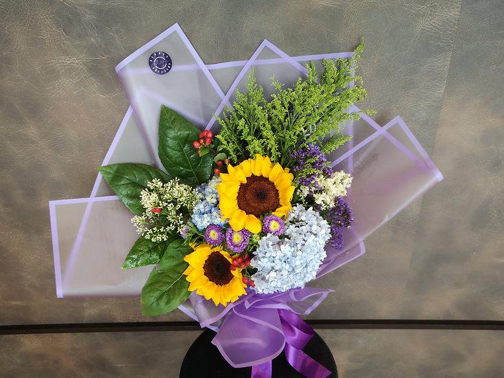 Sunflowers & Hydrangea Posy