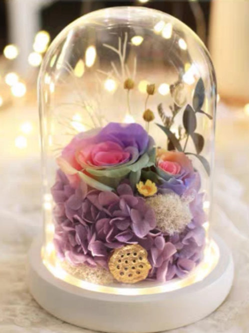 Preserved Floral Dome - Violet Dream
