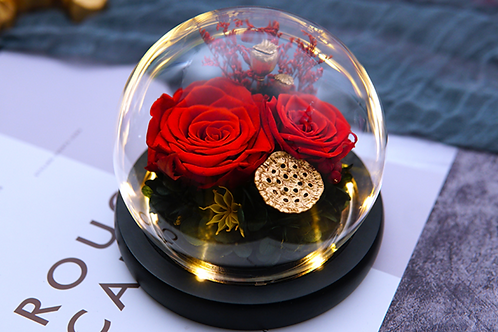 Preserved Floral Small Globe - Red Gold Passion