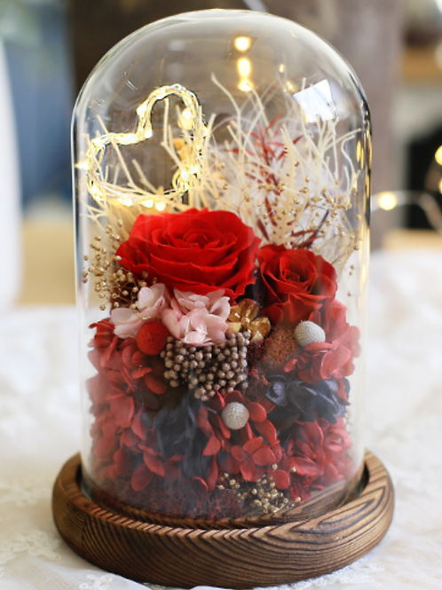 Preserved Floral Dome - Red Heart