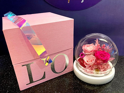 Preserved Floral Small Globe - Pinks