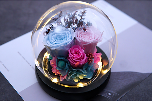 Preserved Floral Small Globe - Blue Pastel