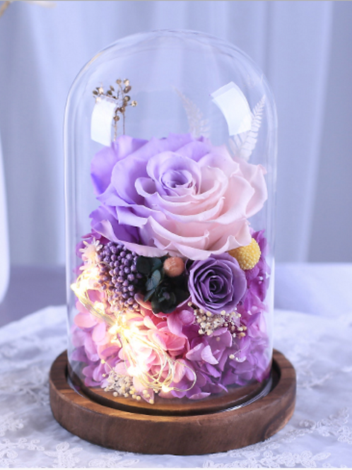 Preserved Floral Dome - Violet Infatuation