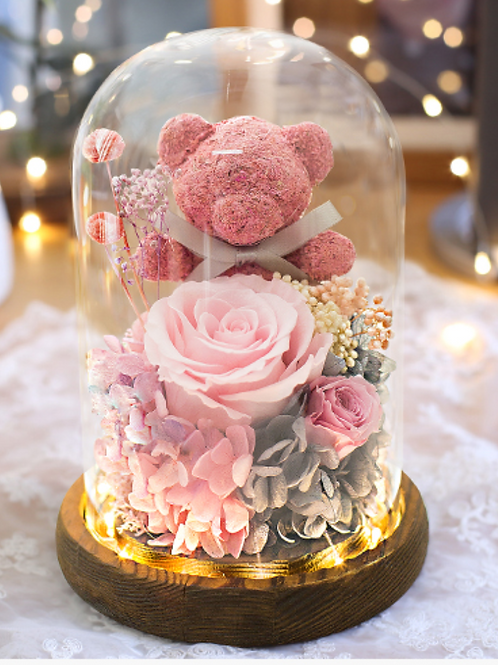 Preserved Moss Bear Dome - Beariliciously Pink