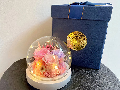 Preserved Floral Small Globe- Pink & Lilac
