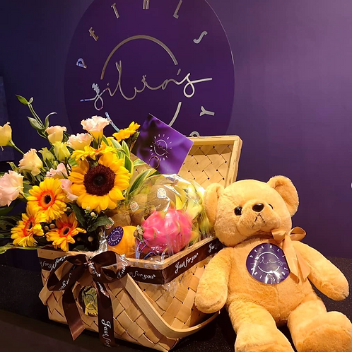 Sunny Fruits Basket with Teddy hugs