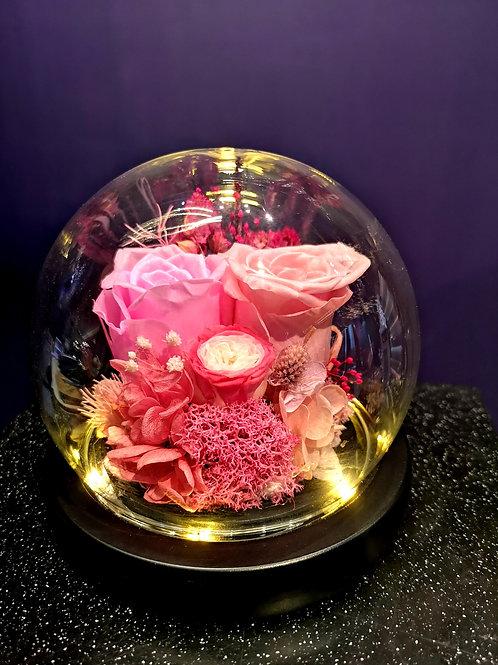 Preserved Floral Small Globe - Magenta Allure