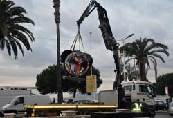 Transport de la sculpture Peace & Toon
