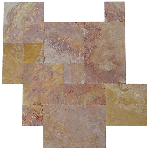 Peach Blend Brushed Chiseled French Pattern Travertine Tile