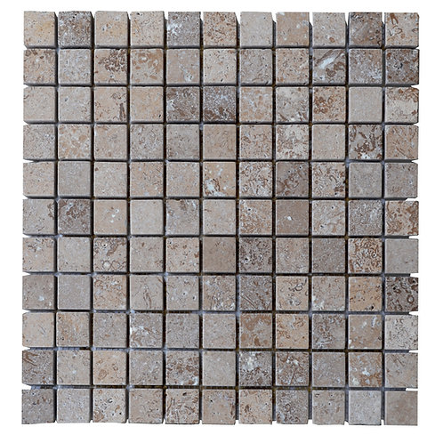"Noce Tumbled 1"" x 1"" Travertine Mosaic Tile"