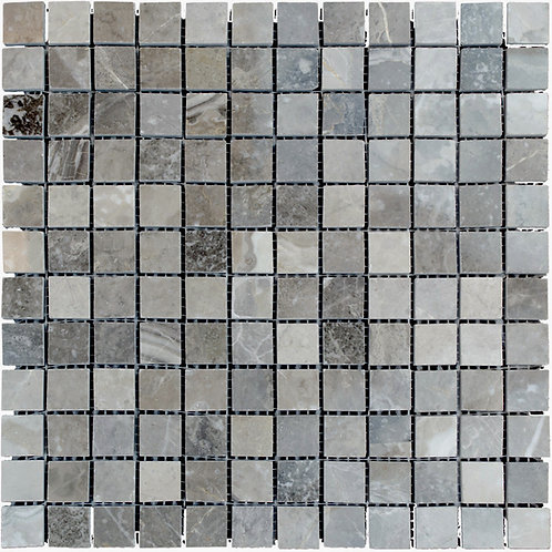 """Silver Polished 1"""" x 1"""" Marble Mosaic Tile"""