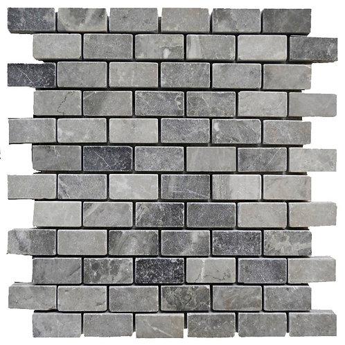 "Silver Tumbled 1"" x 2"" Marble Mosaic Tile"
