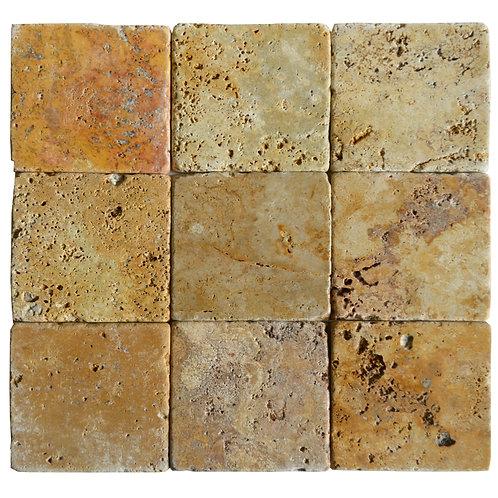 "Gold Standard Tumbled 4"" x 4"" Travertine Mosaic Tile"