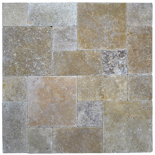 Noce Tumbled Roman Pattern Travertine Paver