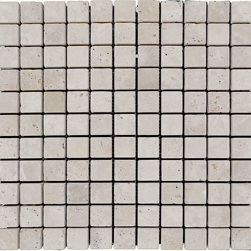 "Ivory Tumbled 1"" x 1"" Travertine Mosaic Tile"