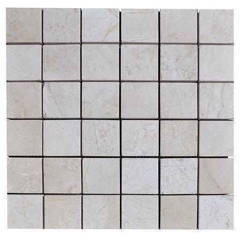 "Crema Nouva Polished 2"" x 2"" Travertine Mosaic Tile"