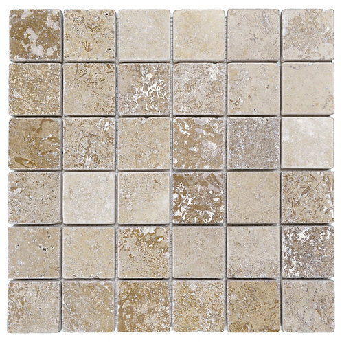 "Noce Mix Tumbled 2"" x 2"" Travertine Mosaic Tile"