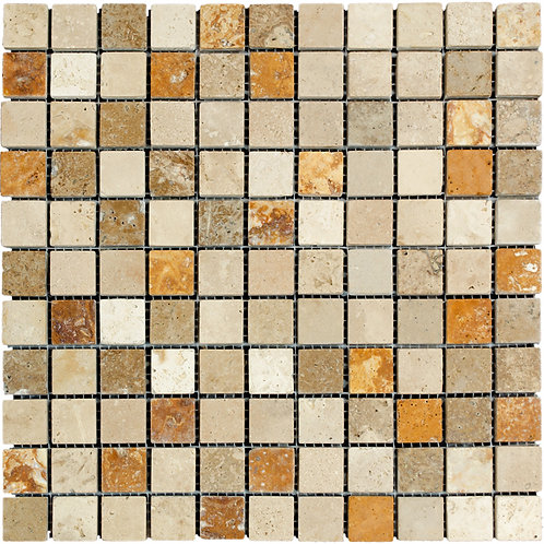 "Ivory Noce Gold Mix Tumbled 1"" x 1"" Travertine Mosaic Tile"