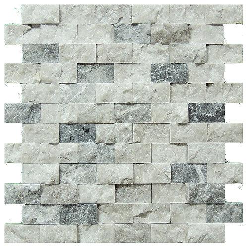 """Silver Split Face 1"""" x 2"""" Marble Mosaic Tile"""