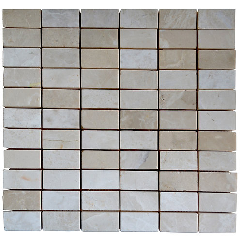"Botticino Straight Polished 1"" x 2"" Marble Mosaic Tile"