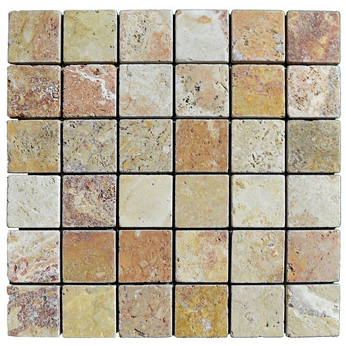 "Antique Blend Tumbled 2"" x 2"" Travertine Mosaic Tile"