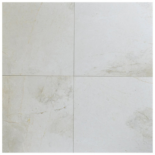 "Snow White Antique Polished 24"" x  24"" Marble Tile"