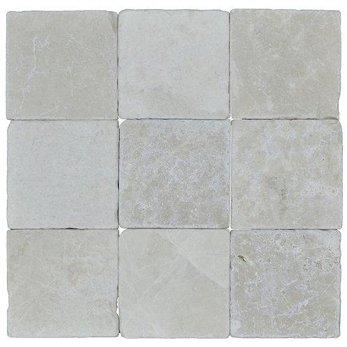 "Botticino Standard Tumbled 4"" x 4"" Marble Mosaic Tile"