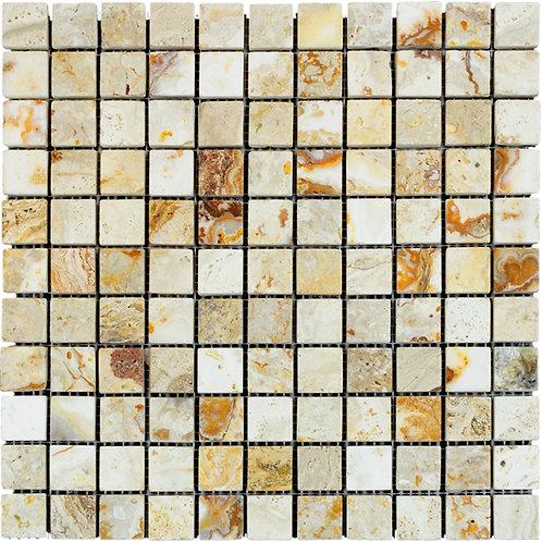 "Leonardo Tumbled 1"" x 1"" Travertine Mosaic Tile"