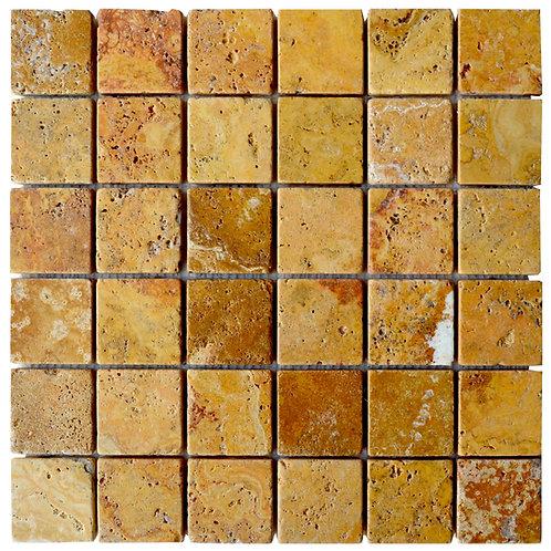"Gold Tumbled 2"" x 2"" Travertine Mosaic Tile"
