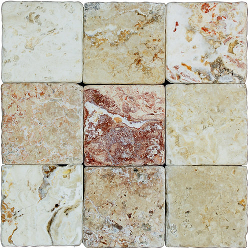"Leonardo Standard Tumbled 4"" x 4"" Travertine Mosaic Tile"