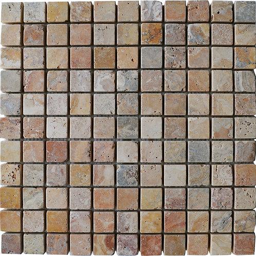 "Antique Blend Tumbled 1"" x 1"" Travertine Mosaic Tile"