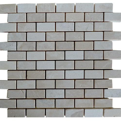 """Botticino Subway Tumbled 1"""" x 2"""" Marble Mosaic Tile"""