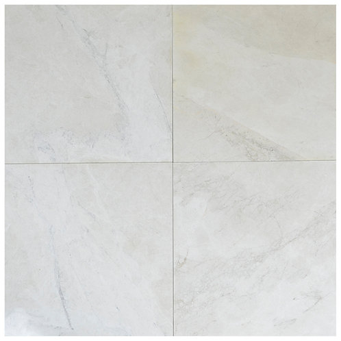 """Snow White Antique Polished 18"""" x 18"""" Marble Tile"""