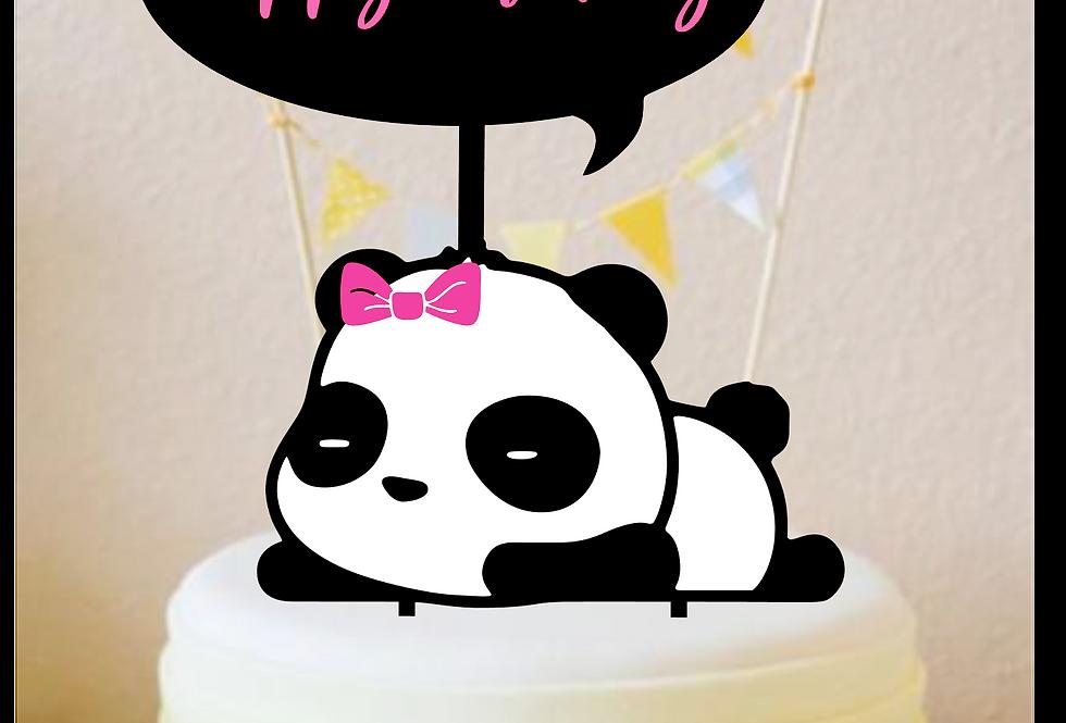 Topper Cake Panda Girl happy  Birthday