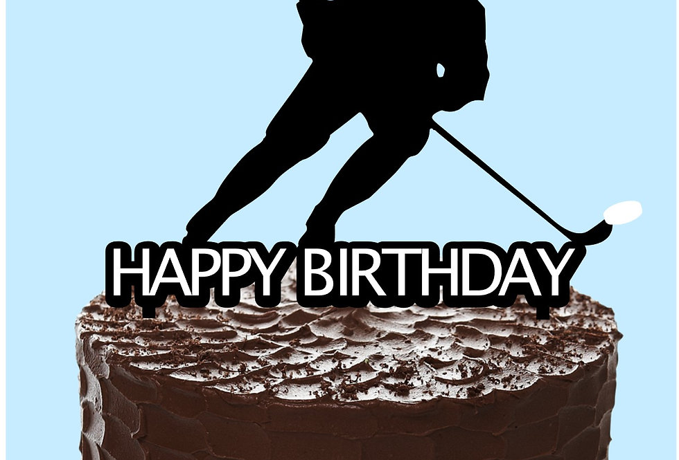 Cake topper Happy Birthday Hockey