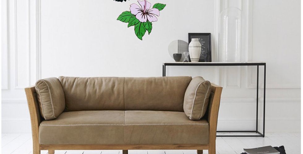 Decor wall colibri e fiore ibisco