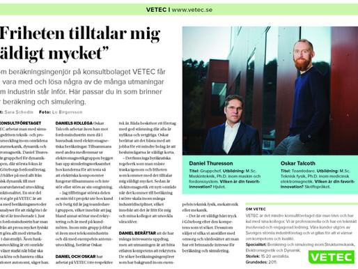 """VETEC intervjuad för NyTeknik – """"Friheten tilltalar mig väldigt mycket"""""""