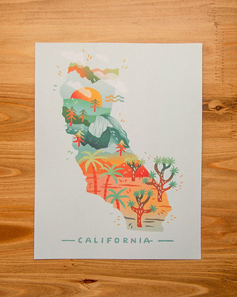 "California Illustrated 8.5x11"" Print"