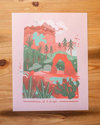 """Pink Utah Illustrated 8.5x11"""" Print"""