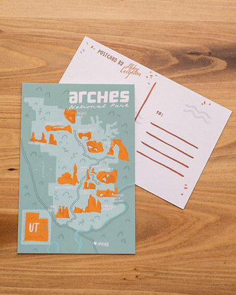 Arches Map Postcard