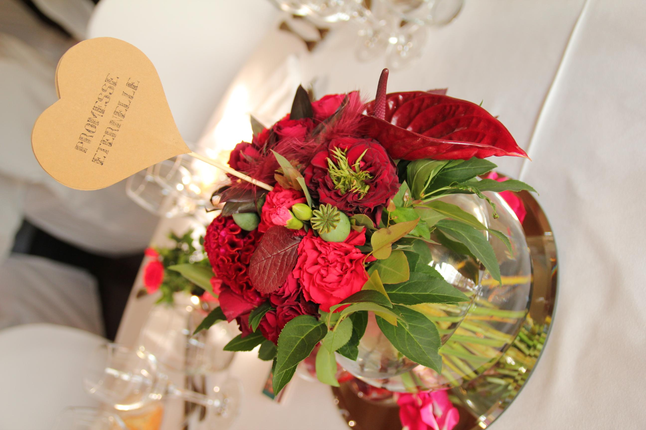 centre de table mariage rouge