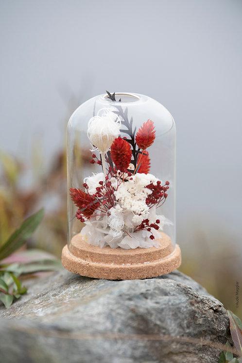 Globe de fleurs séchées
