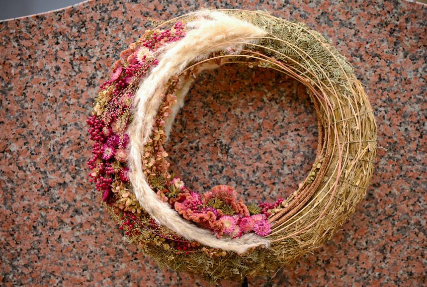 Couronne de deuil fleurs séchées