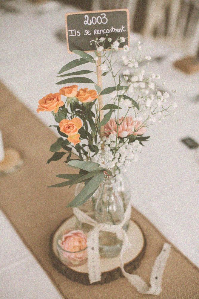 soliflore table mariage vintage