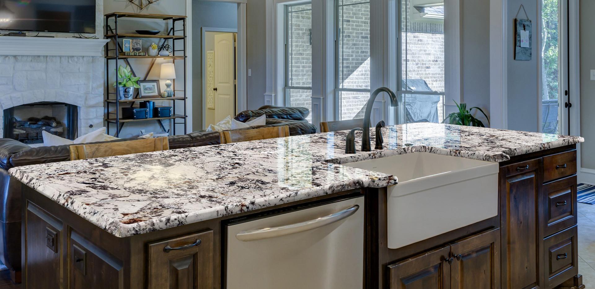 Blanc du Blanc granite kitchen countertop