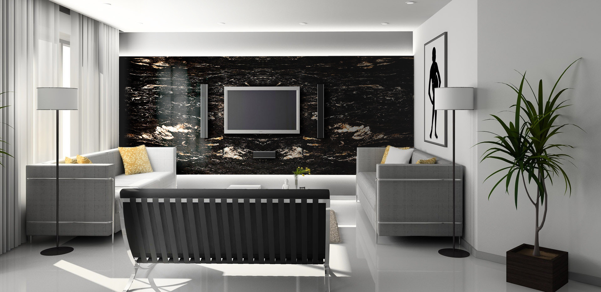 Titanium Black Granite interior wall