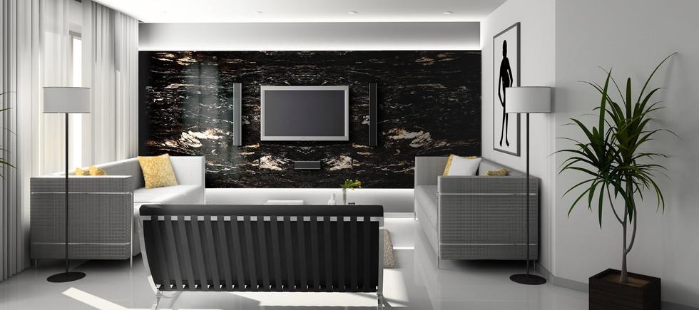 Titanium Black Granite interior wall
