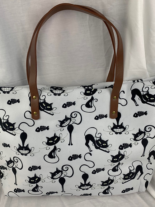 Womens Large White  Bag with Black Cat