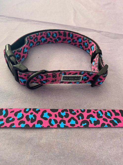 Nuts About Mutts Dog Collar Pink Leopard and Lead - medium